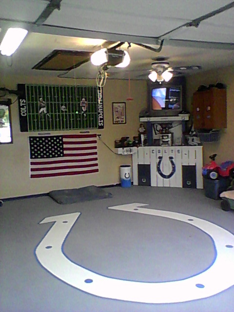 My garage man cave we are coltstrong indianapolis for 2 car garage man cave