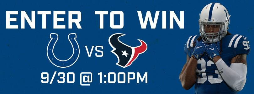 Enter to Win 2 Tickets to Texans at Colts Sunday Sept 30 | 1 pm EDT