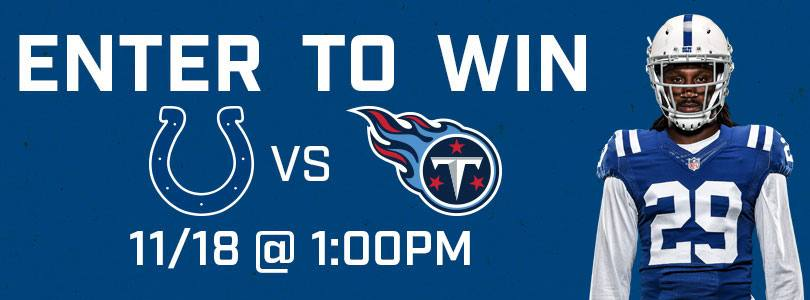 Enter to Win 2 tickets to Titans @ Colts Sun 11/18 · 1:00 PM EST