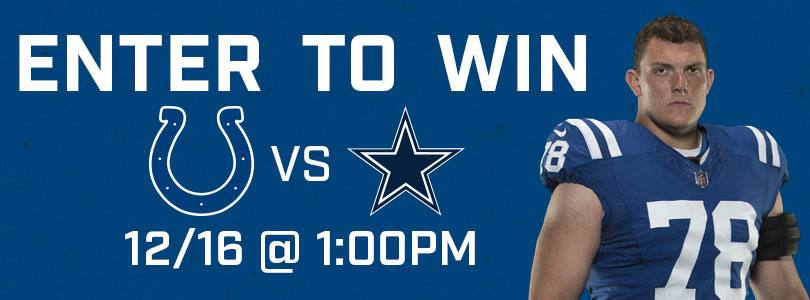 Enter to Win 2 Tickets to Cowboys @ Colts · Sun 12/16 · 1:00 PM EST