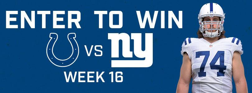 Enter to Win 2 tickets to Giants @ Colts · Sun 12/23 · 1:00 PM EST